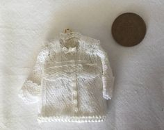 Handmade 1:12th Scale DollHouse Miniature Ladies White Lace victorian style blouse on hanger