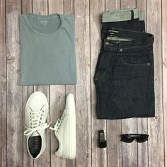 Keeping this simple today.  T-shirt: @alexmillny  Raw selvedge denim: @cmbdenim  White leather sneakers: @noblesole  Steel Gunmetal Apple Watch band: @juukdesign  Sunglasses: @persol x @shopditto  #noblesole #charlesmillerbrand #alexmill #juukesign #persol #shopditto