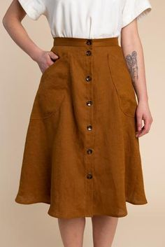 Fiore Skirt Pattern / Wrap Skirt, Button Front + A-Line Skirt Pattern - PDF Download – Closet Case Patterns