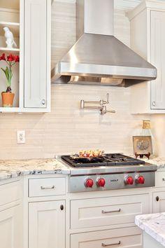 Antiqued ivory beige color travertine tile for kitchen backsplash projects. Stone Kitchen, Kitchen Backsplash, Kitchen Cabinets, Backsplash Design, Travertine Tile Backsplash, Subway Backsplash, Color Tile, Kitchen Design, Natural Design