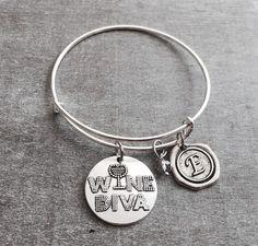 WINE DIVA, wine snob, Wine Bracelet, Wine Lover, Friend, Best Friend, Gag Gift, Sarcastic Gift, Wine Bracelet, Bridesmaid Gift, by SAjolie, $21.75 USD