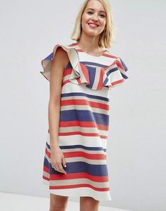 ASOS Natural Fibre Frill Front Shift Dress in Bold Stripe