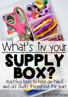 What do you keep in you classroom supply box? I keep teaching tools on had that are off limits to the children throughout the year! Here is a list of things I keep in my supply box. #supplybox #teacherssupplybox #teachingtools #listoftools #listoftoolsinteacherssupplybox #mrsjonescreationstation