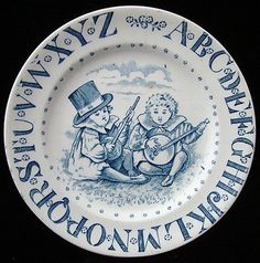 Child's ABC Plate Transferware ~ Young Minstrels 1890