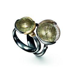 Green rutile quartz 'Lotus' rings