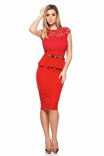 Rochie Fofy Gentle Line Red Peplum Dress, Dresses For Work, Red, Shopping, Collection, Fashion, Moda, Fashion Styles, Fashion Illustrations