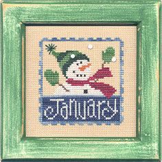 Lizzie Kate Flip-It Stamp January - Cross Stitch Pattern. From Lizzie Kate's New Flip-It Stamp Series - January features a cheerful snowman. Model stitched on 2