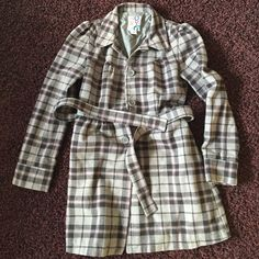 Roxy plaid pea coat Gray with dark gray and hints of purple lines in the plaid. With belt. And pretty gathering at shoulders adds a cute effect Roxy Jackets & Coats Pea Coats