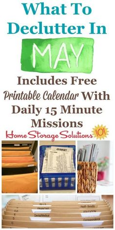 Free printable May #decluttering calendar with daily 15 minute missions, listing exactly what you should #declutter this month. Follow the entire #Declutter365 plan provided by Home Storage Solutions 101 to declutter your whole house in a year.