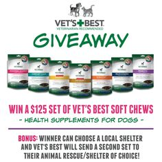 A well balanced diet is best added to with health supplements for dogs. Learn more about Vet's Best Soft Chew and enter to win a $125+ value of products.