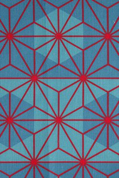 The 'asanoha' (traditional Japanese hemp-leaf) pattern in red against a background of green-blue octagons on linen-cotton canvas. This fabric is available for sale on a variety of fabrics at Spoonflower. Geometric Patterns, Graphic Patterns, Geometric Designs, Color Patterns, Print Patterns, Geometric Shapes, Motifs Textiles, Textile Patterns, Japanese Patterns