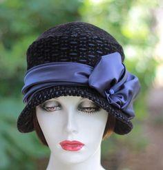 Navy Blue Satin and Black Velvet Art Deco 1920's Flapper Cloche Hat for Gala Event Weddings
