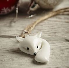 White Glass Fox Decoration
