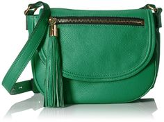 MILLY Astor Saddle Crossbody, Jade. Pebbled-leather saddle bag featuring tassel zipper pull and adjustable cross-body strap.