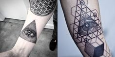 eye of providence tattoo by Bang bang nyc and geometric eye of god by thomas sinnamond