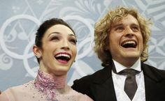 Meryl Davis and Charlie White of the U.S. celebrate during the Figure Skating Ice Dance Short Dance Program at the Sochi 2014 Winter Olympic...