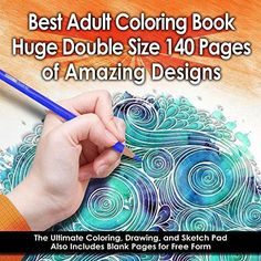 Best Adult Coloring Book (Double Size) - 140 Pages with 68 Designs - Amazing Designs & Stress Relieving Patterns including Mandalas Geometric Shapes an Animal - Perfect for Coloring & Sketching