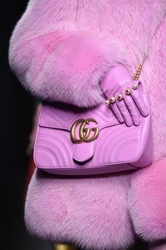 Pink Fur and a Pink Gucci Bag at the Gucci Fall 2016 Show // See All of the Best Looks from Gucci's Show at Milan Fashion Week: (http://www.racked.com/2016/2/24/11105162/gucci-fall-2016-guccighost-bags#6342931)