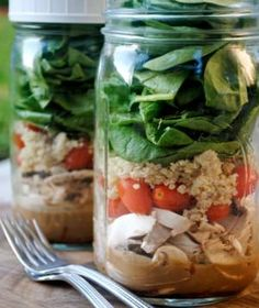 "The latest trend in healthy, on-the-go eating is the ""salad in a jar."" This creative concept uses a 'stacking' method to keep salads fresh for up to three days. Select your favorite dressing—or better yet, make it yourself—and add it to a mason jar followed by salad fixing's like onion, carrots, mushrooms and bell pepper. Add the greens last to keep them from getting soggy! love this!"