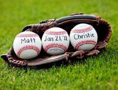 Save the date photo ideas- baseballs in a baseball glove - bride and groom's names and the date on baseballs