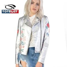 Discount! US $59.47  TOTRUST Womens Silver Leather Jacket 2017 Embroidery PU Coat Women Clothing Short Slim Motorcycle Outerwear Casual Female Jacket  . Get promo for product: Sleeveless Leather Jacket.