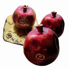 Composition with pomegranates (ceramics, golden potal), unique, stamped by artist  #Art #ceramics #decor #design #Home