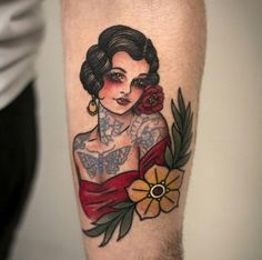 Tattoo traditional sleeve girl sailor jerry 30 New ideas Pin Up Tattoos, Trendy Tattoos, Body Art Tattoos, Sleeve Tattoos, Tattoos For Women, Tattoos For Guys, Tattos, Clock Tattoos, Old Tattoos