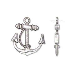 """Charm, antiqued silver-finished """"pewter"""" (zinc-based alloy), 20x20mm double-sided anchor with rope design. Sold per pkg of 20."""