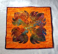 Protea Art Quilt by silverliningsquilts on Etsy, $100.00