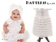 Christening Gown Set - Baby Dress, Booties, Beret and Bonnet
