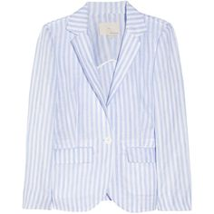 Band of Outsiders New Schoolboy striped linen blazer (€285) ❤ liked on Polyvore featuring outerwear, jackets, blazers, tops, sky blue, band of outsiders blazer, lightweight jackets, one-button blazer, striped blazer and sky blue blazer