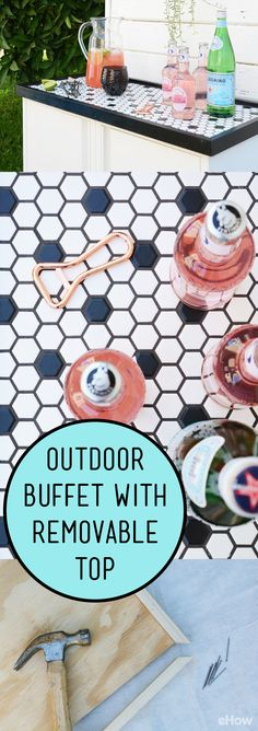 Take your outdoor dining experience to the next level with a stylish DIY outdoor buffet. Perfect for storing all your dishes and serving drinks and food on. Outdoor Buffet Tables, Patio Table, Diy Table, Table And Chairs, Outdoor Dining, Patio Roof, Dining Tables, Outdoor Spaces, Concrete Patio Designs