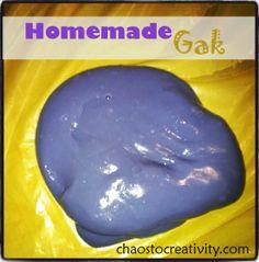 DIY Homemade Gak ~ Kids Crafts, DIY Instructions: www.chaostocreativity.com/diy-homemade-gak-kids-craft/