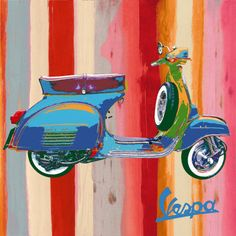 I'm a Pop Art fan and find Vespa scooters pretty hard to resist too. Here's some of my favorite Vespa art prints and pop art posters. Scooters Vespa, Vespa Lambretta, Art Pop, Illustration Vespa, Motorcycle Posters, Poster Prints, Art Prints, Cool Posters, Art Posters