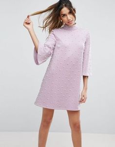 ASOS Pearl Shift Mini With Fluted Sleeve Dress