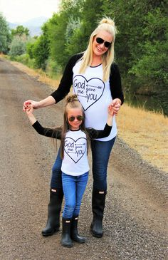 "[Leah liked the jeans, wellies, and shirt.]  Mommy & Me - ""God Gave Me You"" 3/4 Sleeve Shirt"