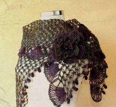 Glare of Fairness / Crochet Dark Brown Shawl Wrap / by lilithist, $110.00