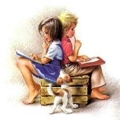 Marlier, Marcel Boy & Girl Working on Homework (W Dog) Kids Reading Books, Love Reading, Marcel, Library Quotes, Book People, Love Book, Clipart, Art For Kids, Art Children