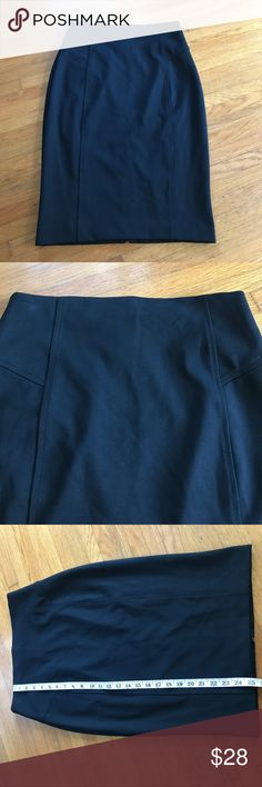 Express Black Skirt Beautiful black skirt with tags!  25 inches long with full zipper up the back. Waist measures 29 inches. 61% polyester, 34% viscose and5% spandex. Lining is95% polyester and 5% spandex. Express Skirts