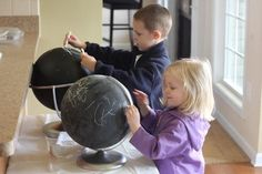 teach geography--paint an old globe with chalkboard paint