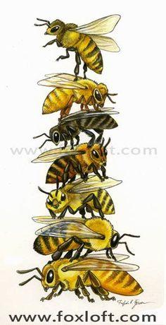 Bee Stack Art Painting Print - Wall art, totem pole, honey bee art, bee art, bee totem, beekeeper, gift, watercolor, honeybee on Etsy, $20.00