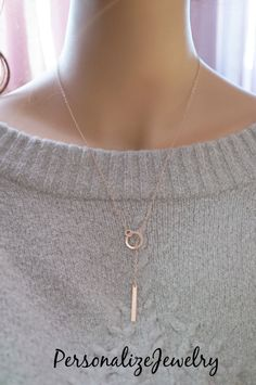 14k Rose Gold Filled Lariat Necklace Rose by PersonalizeJewelry