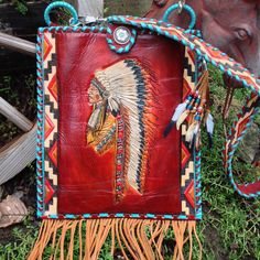 Items similar to SOLD**** Special Order**Southwestern Hand Tooled Leather Chief Headdress Feather Art Ipad/ Tablet Handbag on Etsy Leather Cuffs, Leather Tooling, Leather Purses, Tooled Leather, Leather Bags, Cowgirl Style, Western Style, Western Wear, Boho Bags