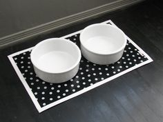Black & White Dot Pet Placemat with Solid by diggitydawgdesigns, $15.00