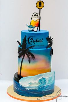 The Effective Pictures We Offer You About Cake Design for boys A quality picture can tell you many things. You can find the most beautiful pictures that can be presented to you about Cake Design for b Hawaiian Birthday Cakes, Birthday Cakes For Men, Birthday Bar, 17th Birthday, Beach Themed Cakes, Beach Cakes, Surfer Cake, Mayonaise Cake, Hawaii Cake