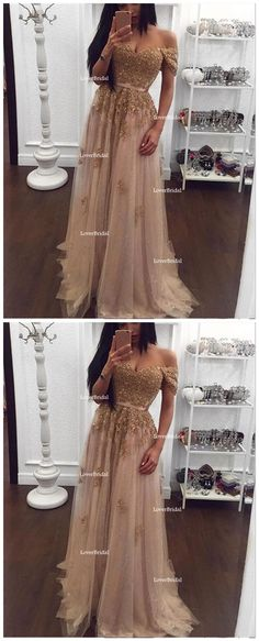 Off Shoulder Gold Lace Beaded Long Evening Prom Dresses, Popular Cheap Long Custom Party Prom Dresses, 17329
