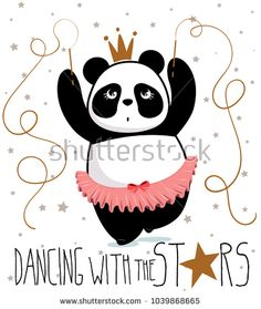 cute panda, little dancer,dancing with the stars, vector graphics for t-shirt