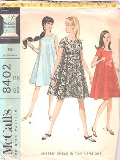 McCalls 8402 Misses Mod Trapeze Tent Dress Pattern Widely Flared Womens Vintage Sewing Pattern Size 12 Bust 32 Dress Patterns Uk, Vintage Sewing Patterns, Clothing Patterns, Tent Dress, Swing Dress, Vintage Dresses 1960s, Miss Dress, Dress Tutorials, Tea Length Dresses