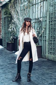 white coat, skinny black jeans outfit