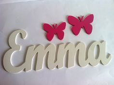 Wooden letters with butterflies custom by Planetasierra, Grace Art, Baby E, Diy Home Crafts, Wooden Letters, Girl Room, Baby Room, Baby Boy Shower, Word Art, Birthday Wishes